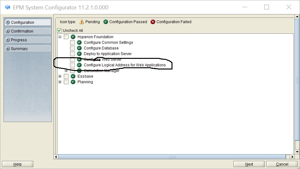 The logical address was configured and port 19000 was assigned.